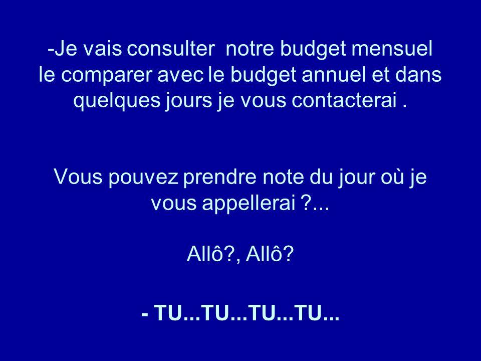 -Je vais consulter notre budget mensuel le comparer avec le budget annuel et dans quelques jours je vous contacterai. Vous pouvez prendre note du jour