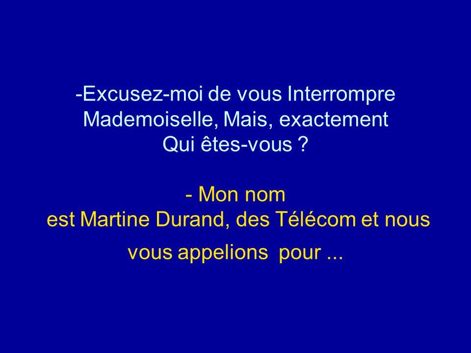 -Excusez-moi de vous Interrompre Mademoiselle, Mais, exactement Qui êtes-vous ? - Mon nom est Martine Durand, des Télécom et nous vous appelions pour.