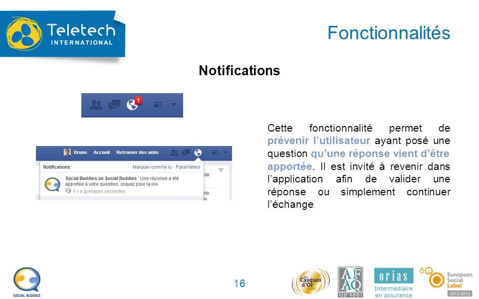 Fonctionnalités 16 Cette fonctionnalité permet de prévenir l'utilisateur ayant posé une question qu'une réponse vient d'être apportée.