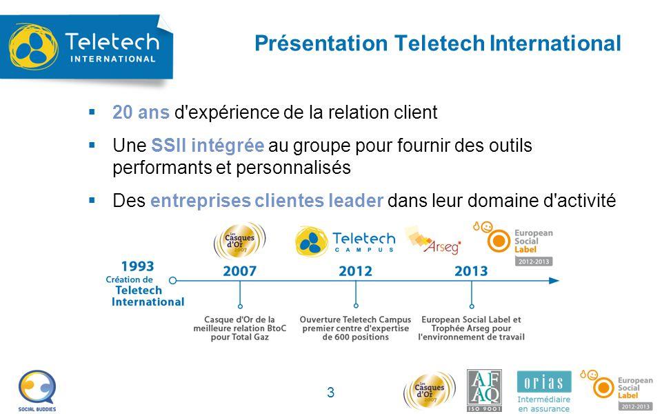 Présentation Teletech International  20 ans d expérience de la relation client  Une SSII intégrée au groupe pour fournir des outils performants et personnalisés  Des entreprises clientes leader dans leur domaine d activité 3