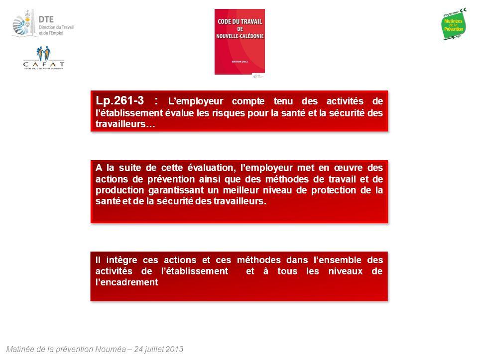 Matinée de la prévention Nouméa – 24 juillet 2013 Lp.261-3 : L'employeur compte tenu des activités de l'établissement évalue les risques pour la santé