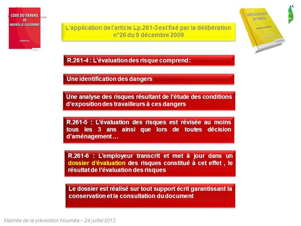 Matinée de la prévention Nouméa – 24 juillet 2013 L'application de l'article Lp.261-3 est fixé par la délibération n°26 du 9 décembre 2009 R.261-4 : L