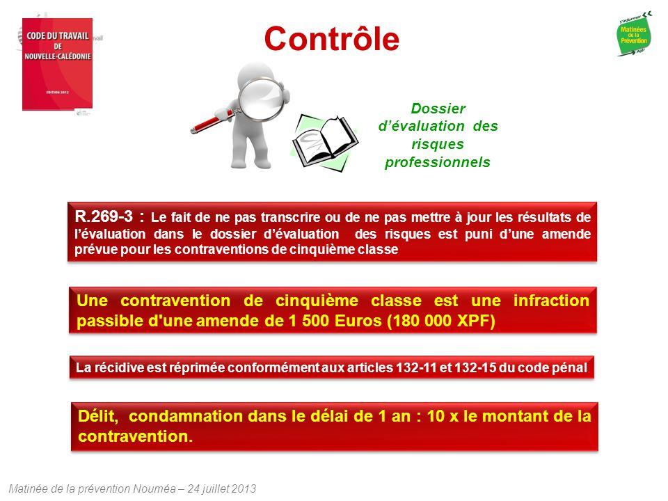 Matinée de la prévention Nouméa – 24 juillet 2013 Contrôle R.269-3 : Le fait de ne pas transcrire ou de ne pas mettre à jour les résultats de l'évalua