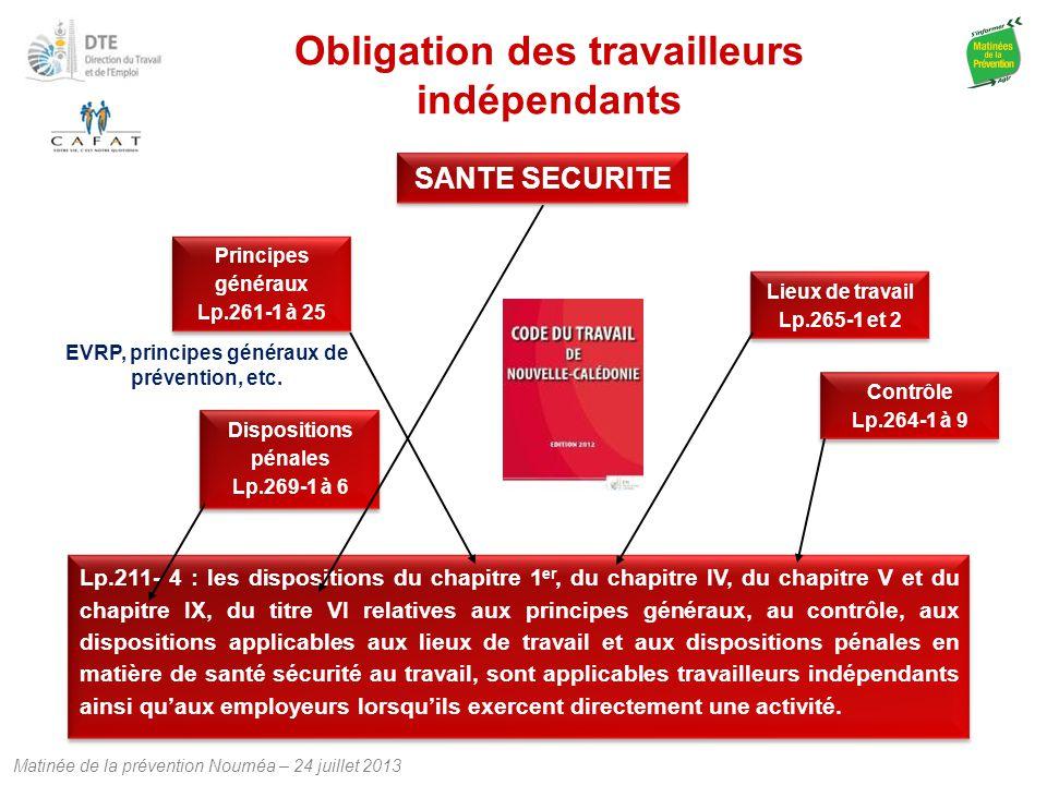 Matinée de la prévention Nouméa – 24 juillet 2013 Obligation des travailleurs indépendants Lp.211- 4 : les dispositions du chapitre 1 er, du chapitre