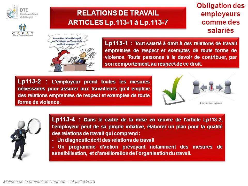 Matinée de la prévention Nouméa – 24 juillet 2013 Lp113-1 : Tout salarié à droit à des relations de travail empreintes de respect et exemptes de toute