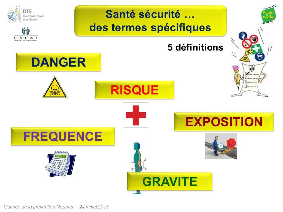 Matinée de la prévention Nouméa – 24 juillet 2013 RISQUE DANGER EXPOSITION 5 définitions GRAVITEFREQUENCE Santé sécurité … des termes spécifiques Sant