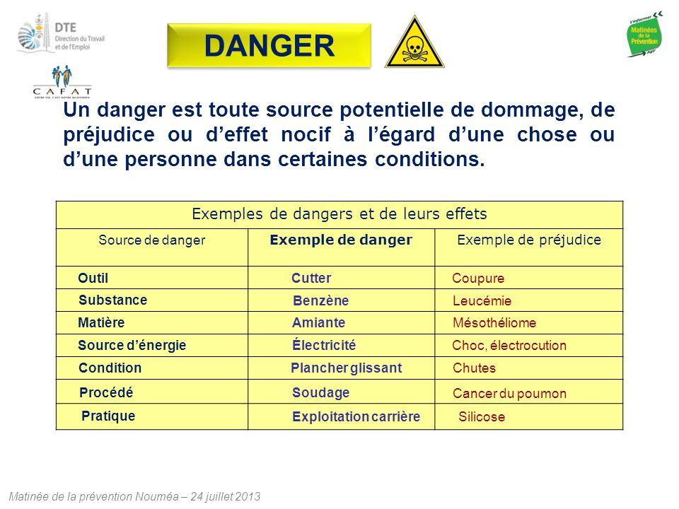 Matinée de la prévention Nouméa – 24 juillet 2013 Un danger est toute source potentielle de dommage, de préjudice ou d'effet nocif à l'égard d'une cho