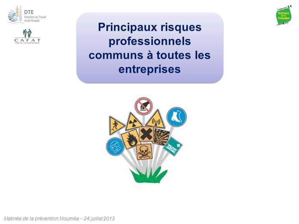 Matinée de la prévention Nouméa – 24 juillet 2013 Principaux risques professionnels communs à toutes les entreprises
