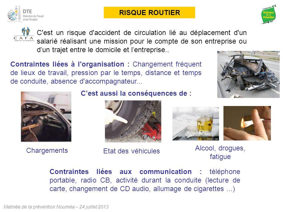 Matinée de la prévention Nouméa – 24 juillet 2013 RISQUE ROUTIER C'est un risque d'accident de circulation lié au déplacement d'un salarié réalisant u
