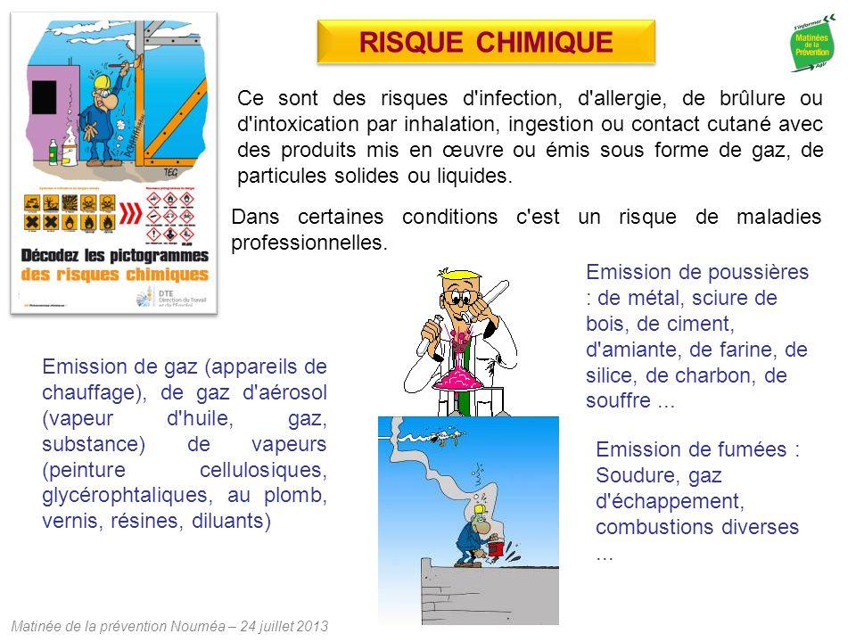 Matinée de la prévention Nouméa – 24 juillet 2013 Ce sont des risques d'infection, d'allergie, de brûlure ou d'intoxication par inhalation, ingestion