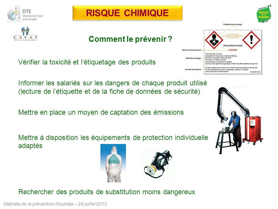 Matinée de la prévention Nouméa – 24 juillet 2013 RISQUE CHIMIQUE Comment le prévenir ? Vérifier la toxicité et l'étiquetage des produits Informer les