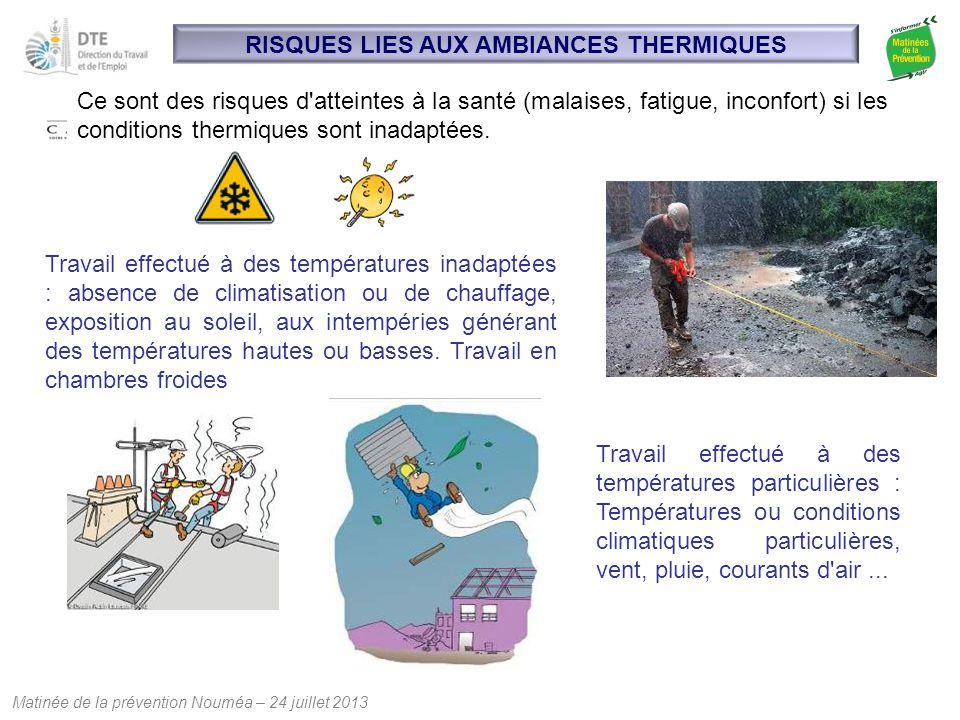 Matinée de la prévention Nouméa – 24 juillet 2013 RISQUES LIES AUX AMBIANCES THERMIQUES Ce sont des risques d'atteintes à la santé (malaises, fatigue,