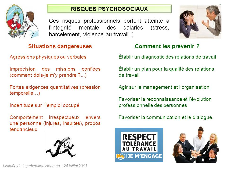 Matinée de la prévention Nouméa – 24 juillet 2013 RISQUES PSYCHOSOCIAUX Ces risques professionnels portent atteinte à l'intégrité mentale des salariés