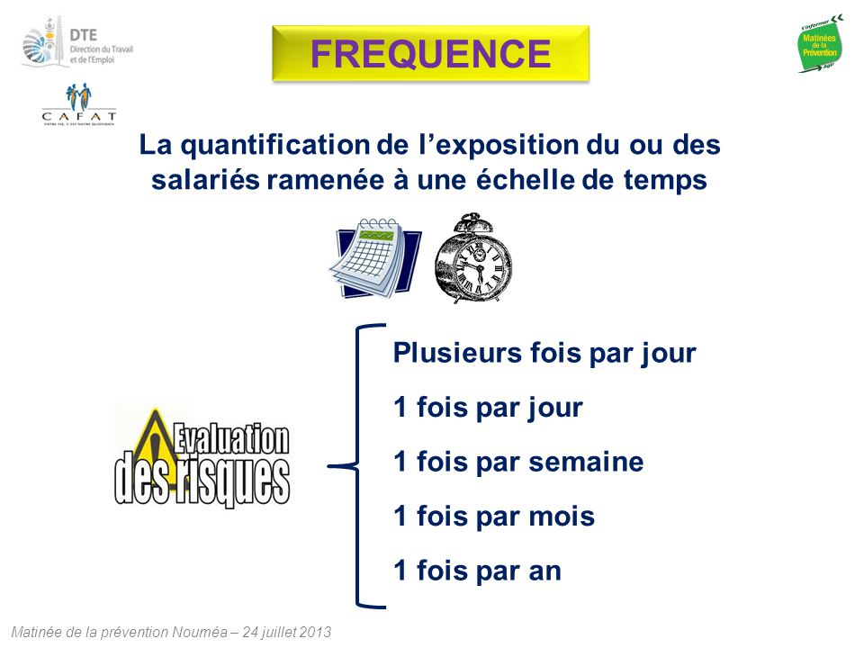 Matinée de la prévention Nouméa – 24 juillet 2013 La quantification de l'exposition du ou des salariés ramenée à une échelle de temps 1 fois par jour