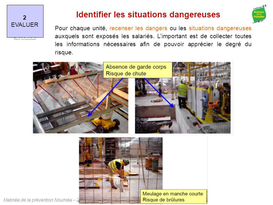 Matinée de la prévention Nouméa – 24 juillet 2013 2 EVALUER Identifier les situations dangereuses Pour chaque unité, recenser les dangers ou les situa