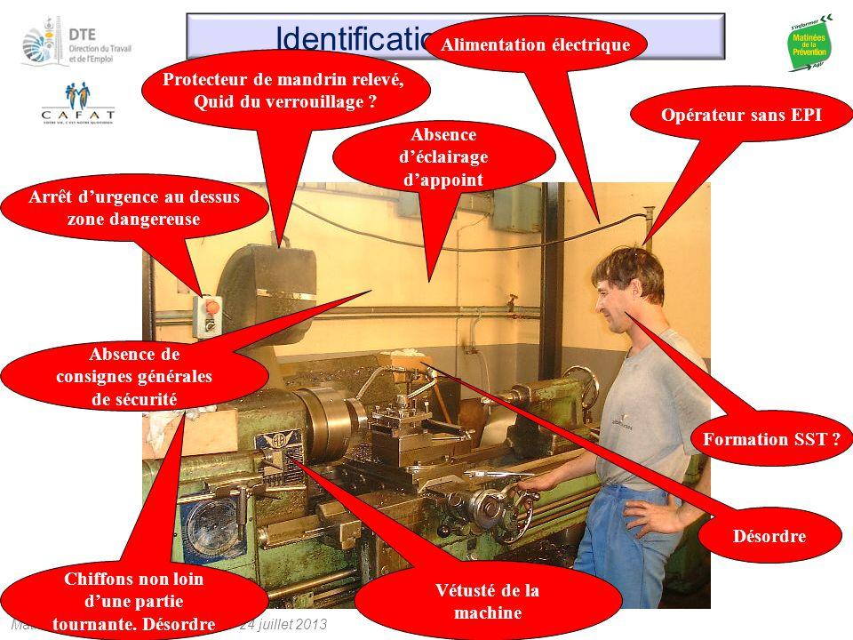Matinée de la prévention Nouméa – 24 juillet 2013 Identification des risques Protecteur de mandrin relevé, Quid du verrouillage ? Opérateur sans EPI A