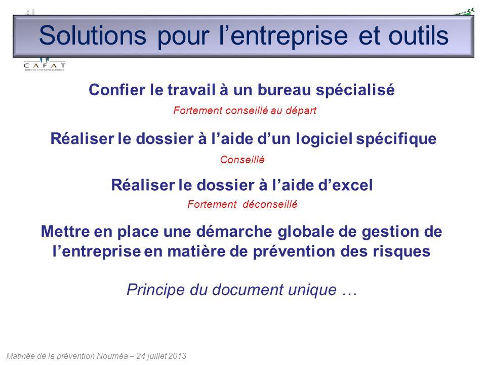 Matinée de la prévention Nouméa – 24 juillet 2013 Solutions pour l'entreprise et outils Confier le travail à un bureau spécialisé Réaliser le dossier