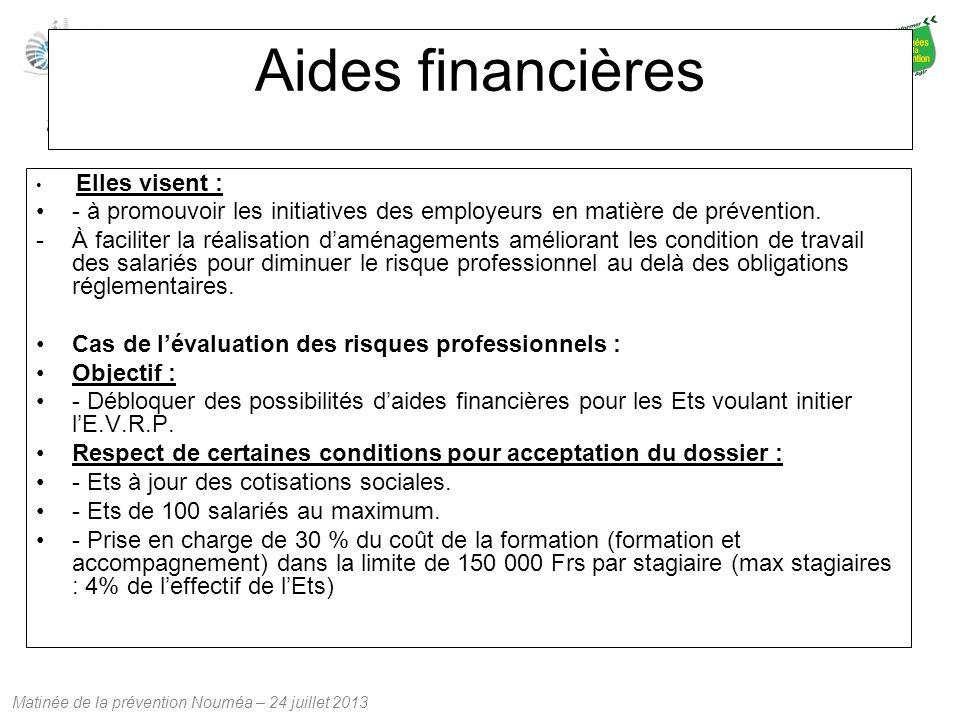 Matinée de la prévention Nouméa – 24 juillet 2013 Aides financières Elles visent : - à promouvoir les initiatives des employeurs en matière de prévent