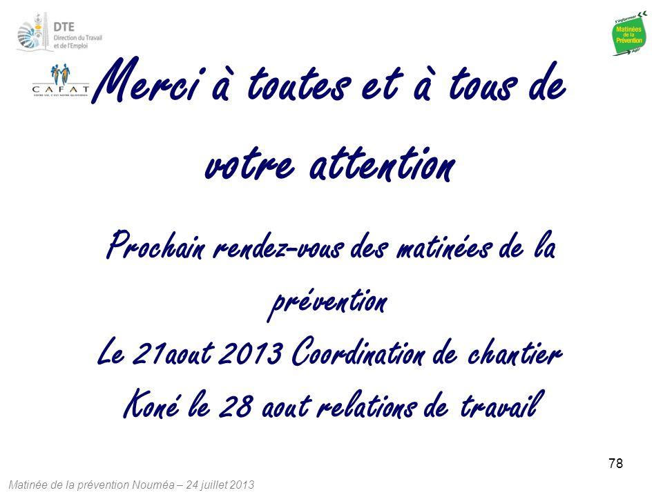 Matinée de la prévention Nouméa – 24 juillet 2013 78 Prochain rendez-vous des matinées de la prévention Le 21aout 2013 Coordination de chantier Koné l