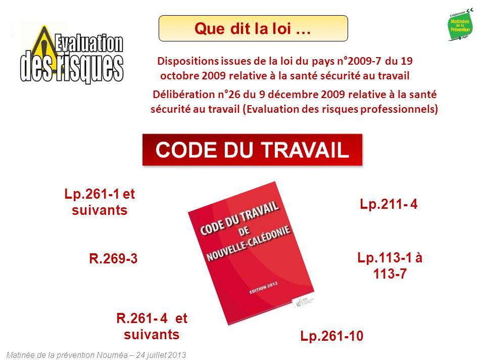 Matinée de la prévention Nouméa – 24 juillet 2013 Que dit la loi … Lp.113-1 à 113-7 Lp.261-1 et suivants R.269-3 R.261- 4 et suivants Lp.211- 4 Lp.261