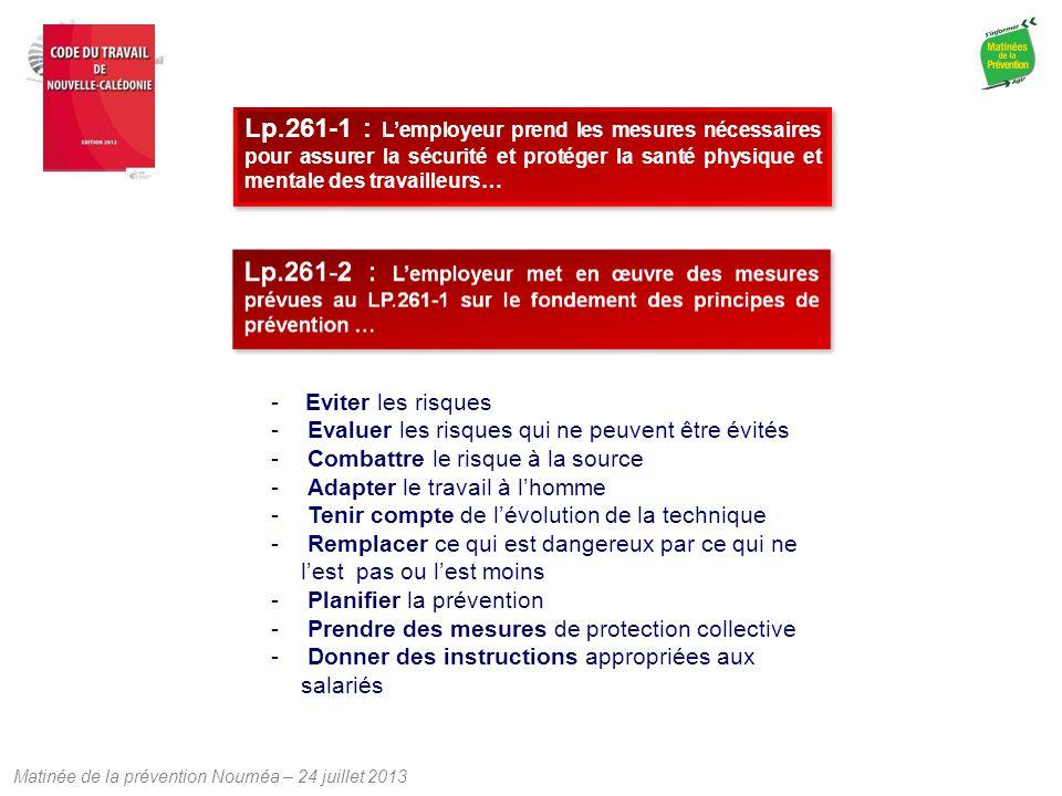 Matinée de la prévention Nouméa – 24 juillet 2013 Lp.261-1 : L'employeur prend les mesures nécessaires pour assurer la sécurité et protéger la santé p