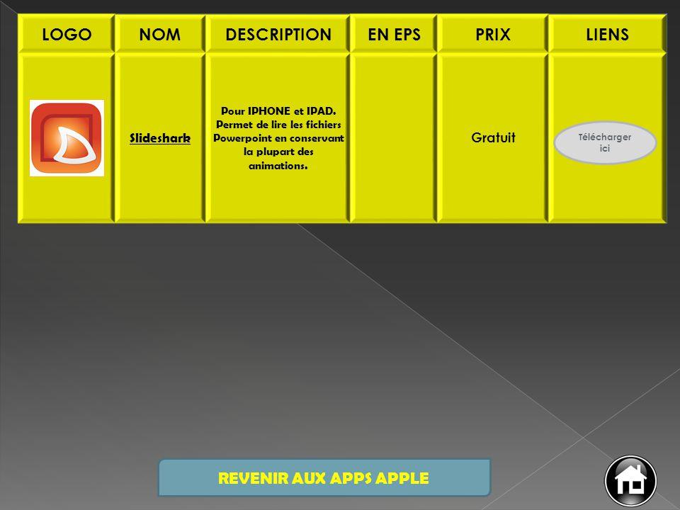 LOGONOMDESCRIPTIONEN EPSPRIXLIENS Slideshark Pour IPHONE et IPAD. Permet de lire les fichiers Powerpoint en conservant la plupart des animations. Grat