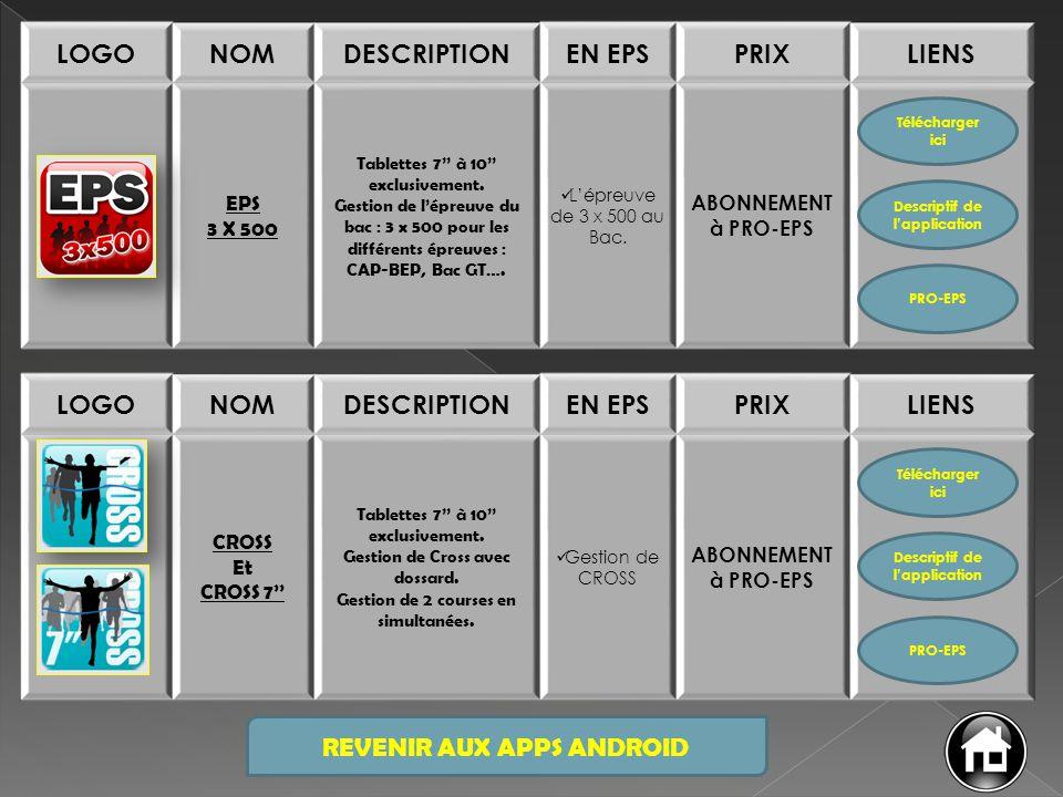 REVENIR AUX APPS ANDROID LOGONOMDESCRIPTIONEN EPSPRIXLIENS EPS RUNNING Tablettes 7'' à 10'' exclusivement.