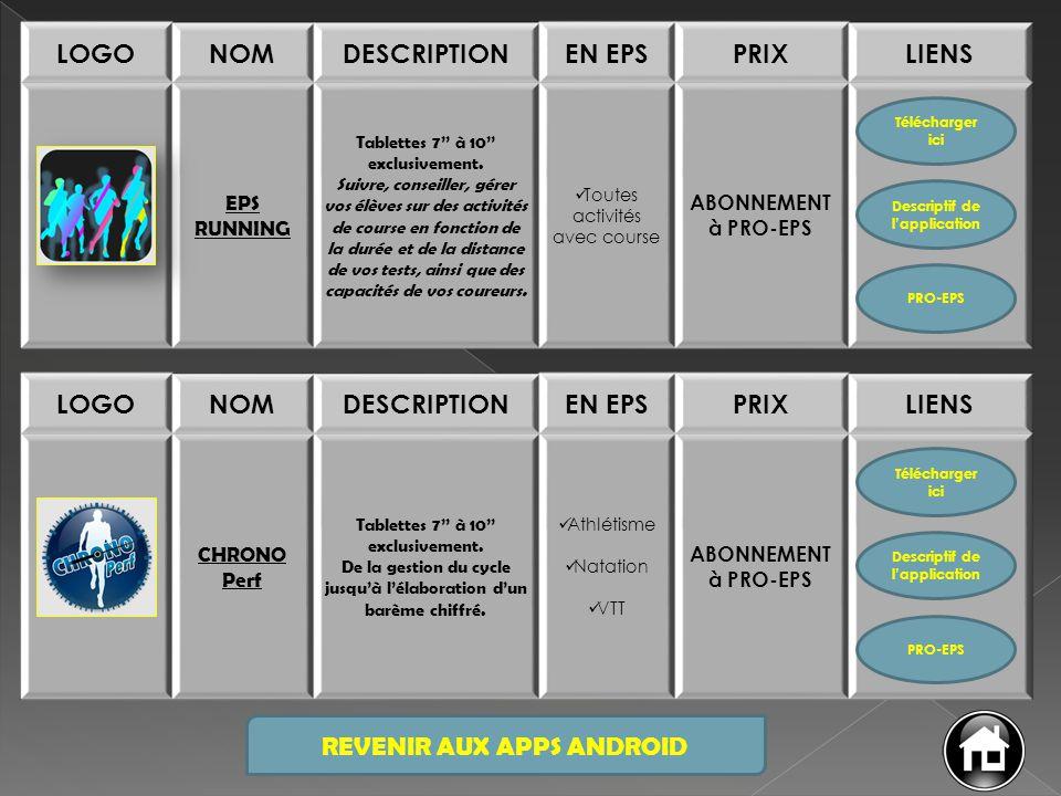 REVENIR AUX APPS ANDROID LOGONOMDESCRIPTIONEN EPSPRIXLIENS EPS RUNNING Tablettes 7'' à 10'' exclusivement. Suivre, conseiller, gérer vos élèves sur de
