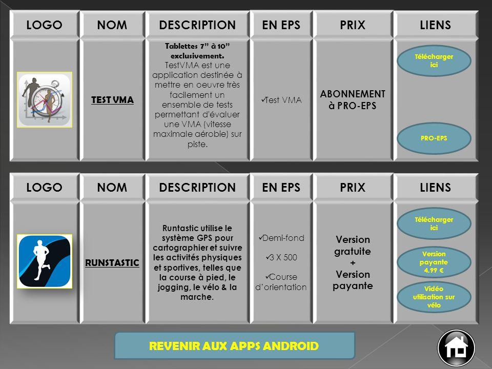 REVENIR AUX APPS ANDROID LOGONOMDESCRIPTIONEN EPSPRIXLIENS TEST VMA Tablettes 7'' à 10'' exclusivement. TestVMA est une application destinée à mettre