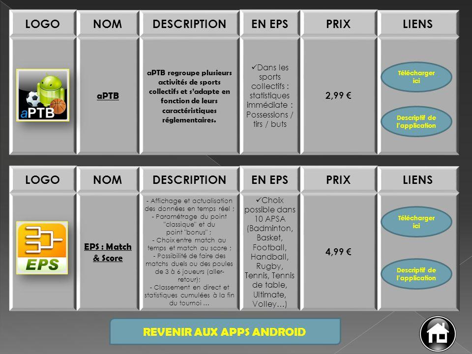 REVENIR AUX APPS ANDROID LOGONOMDESCRIPTIONEN EPSPRIXLIENS aPTB aPTB regroupe plusieurs activités de sports collectifs et s'adapte en fonction de leur