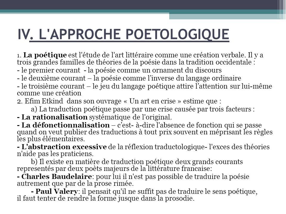 IV.L APPROCHE POETOLOGIQUE 1.