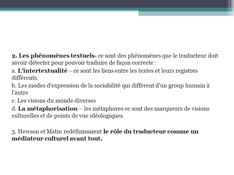 2. Les phénomènes textuels- ce sont des phénomènes que le traducteur doit savoir détecter pour pouvoir traduire de façon correcte : a. L'intertextuali