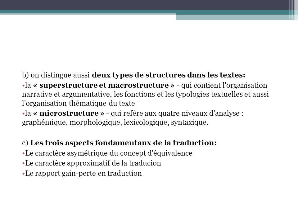 b) on distingue aussi deux types de structures dans les textes: la « superstructure et macrostructure » - qui contient l organisation narrative et argumentative, les fonctions et les typologies textuelles et aussi l organisation thématique du texte la « microstructure » - qui refère aux quatre niveaux d analyse : graphémique, morphologique, lexicologique, syntaxique.