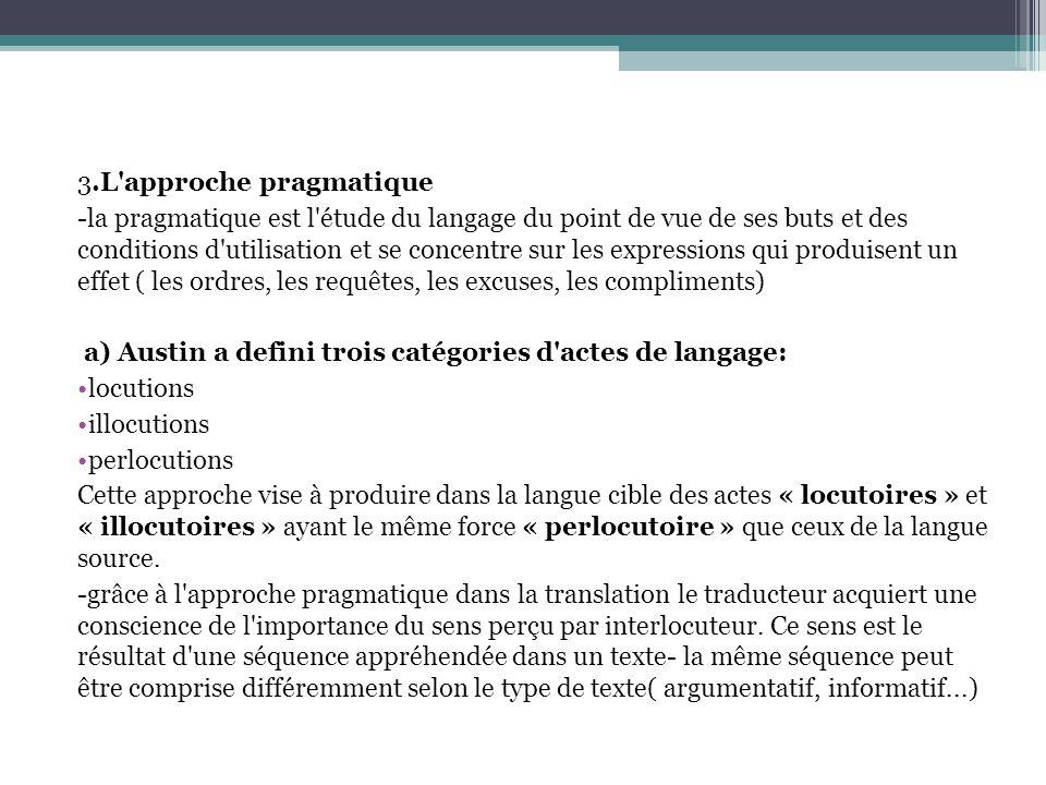 3.L approche pragmatique -la pragmatique est l étude du langage du point de vue de ses buts et des conditions d utilisation et se concentre sur les expressions qui produisent un effet ( les ordres, les requêtes, les excuses, les compliments) a) Austin a defini trois catégories d actes de langage: locutions illocutions perlocutions Cette approche vise à produire dans la langue cible des actes « locutoires » et « illocutoires » ayant le même force « perlocutoire » que ceux de la langue source.