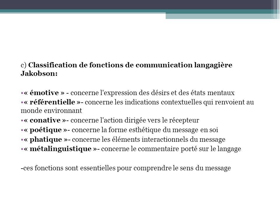 c) Classification de fonctions de communication langagière Jakobson: « émotive » - concerne l expression des désirs et des états mentaux « référentielle »- concerne les indications contextuelles qui renvoient au monde environnant « conative »- concerne l action dirigée vers le récepteur « poétique »- concerne la forme esthétique du message en soi « phatique »- concerne les éléments interactionnels du message « métalinguistique »- concerne le commentaire porté sur le langage -ces fonctions sont essentielles pour comprendre le sens du message