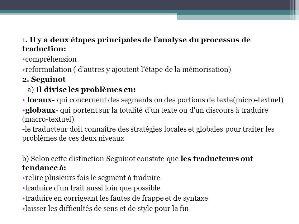 1. Il y a deux étapes principales de l'analyse du processus de traduction: compréhension reformulation ( d'autres y ajoutent l'étape de la mémorisatio