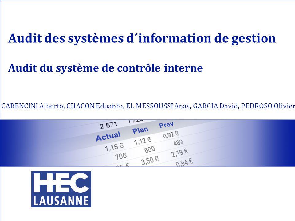 Audit des systèmes d´information de gestion Audit du système de contrôle interne CARENCINI Alberto, CHACON Eduardo, EL MESSOUSSI Anas, GARCIA David, P