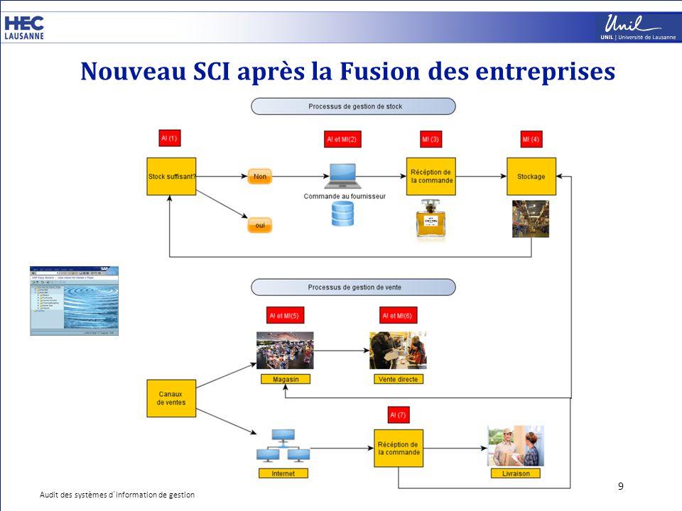 Nouveau SCI après la Fusion des entreprises 9 Audit des systèmes d´information de gestion