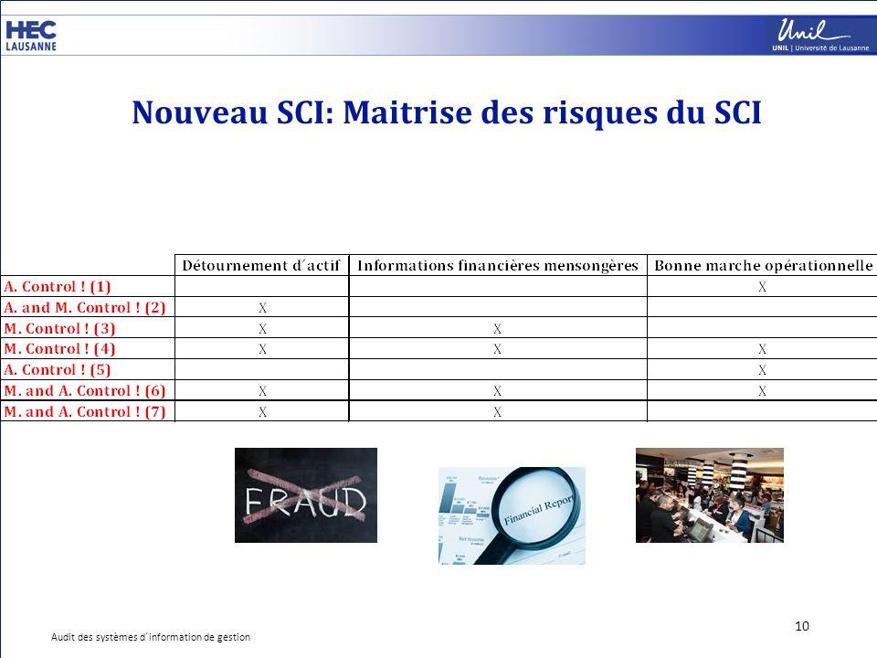 Nouveau SCI: Maitrise des risques du SCI 10 Audit des systèmes d´information de gestion