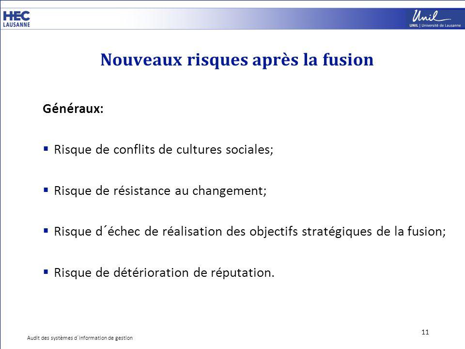 Nouveaux risques après la fusion 11 Généraux:  Risque de conflits de cultures sociales;  Risque de résistance au changement;  Risque d´échec de réa