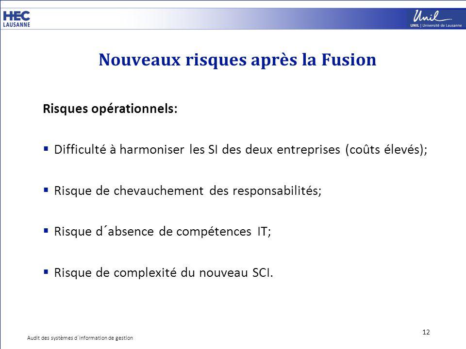 Nouveaux risques après la Fusion 12 Risques opérationnels:  Difficulté à harmoniser les SI des deux entreprises (coûts élevés);  Risque de chevauche