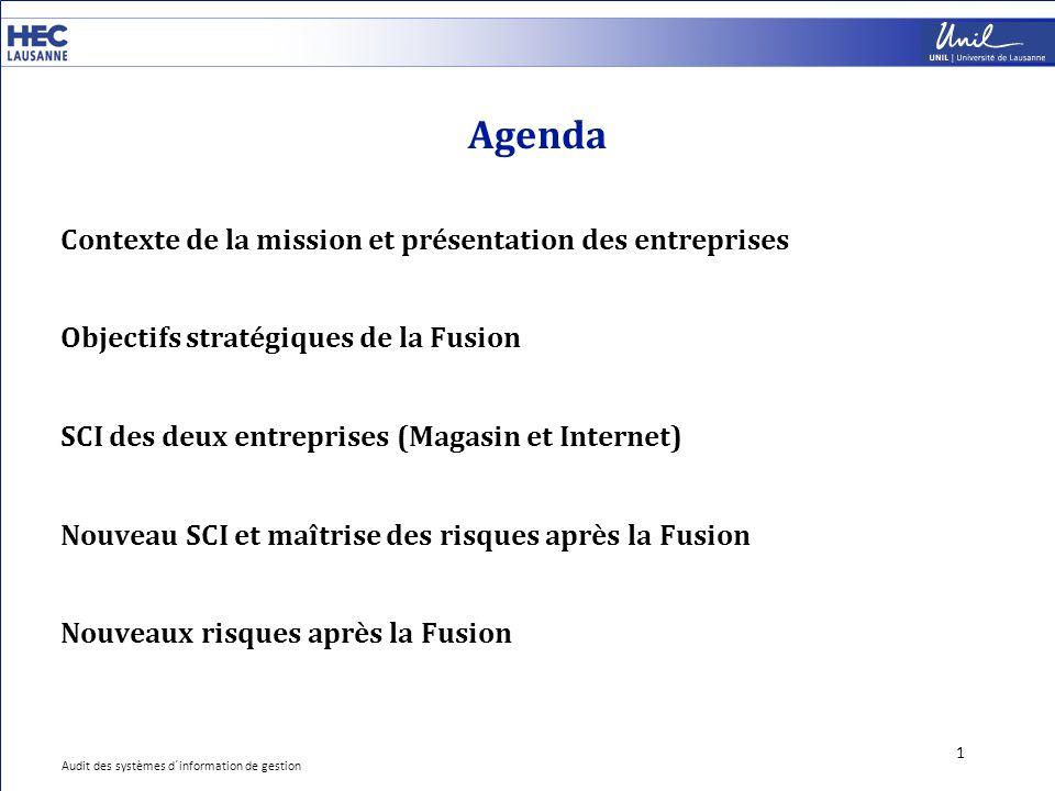 Agenda 1 Contexte de la mission et présentation des entreprises Objectifs stratégiques de la Fusion SCI des deux entreprises (Magasin et Internet) Nou