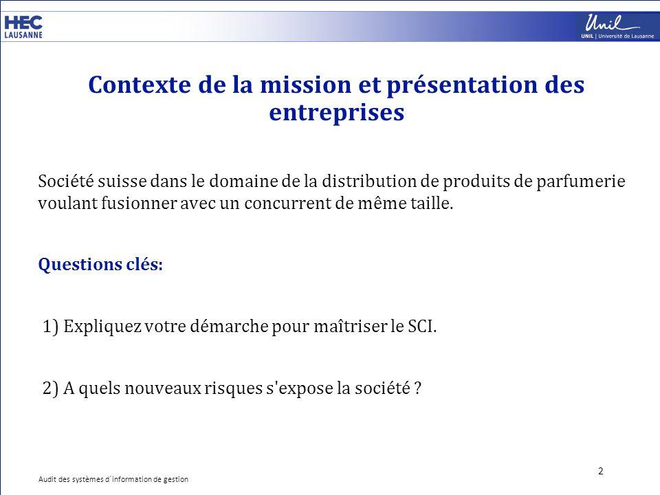 Contexte de la mission et présentation des entreprises 2 Société suisse dans le domaine de la distribution de produits de parfumerie voulant fusionner