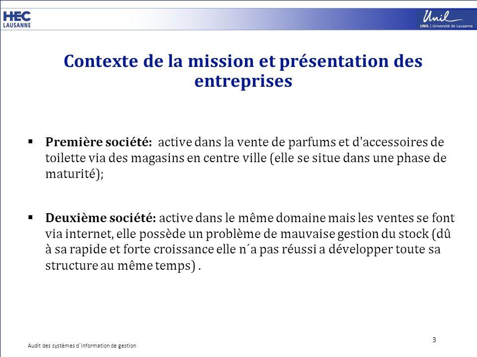 Contexte de la mission et présentation des entreprises 3  Première société: active dans la vente de parfums et d'accessoires de toilette via des maga
