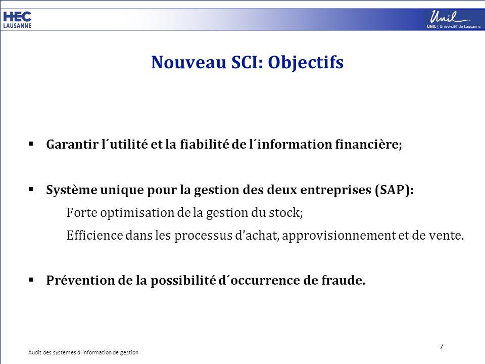 Nouveau SCI: Objectifs 7  Garantir l´utilité et la fiabilité de l´information financière;  Système unique pour la gestion des deux entreprises (SAP)