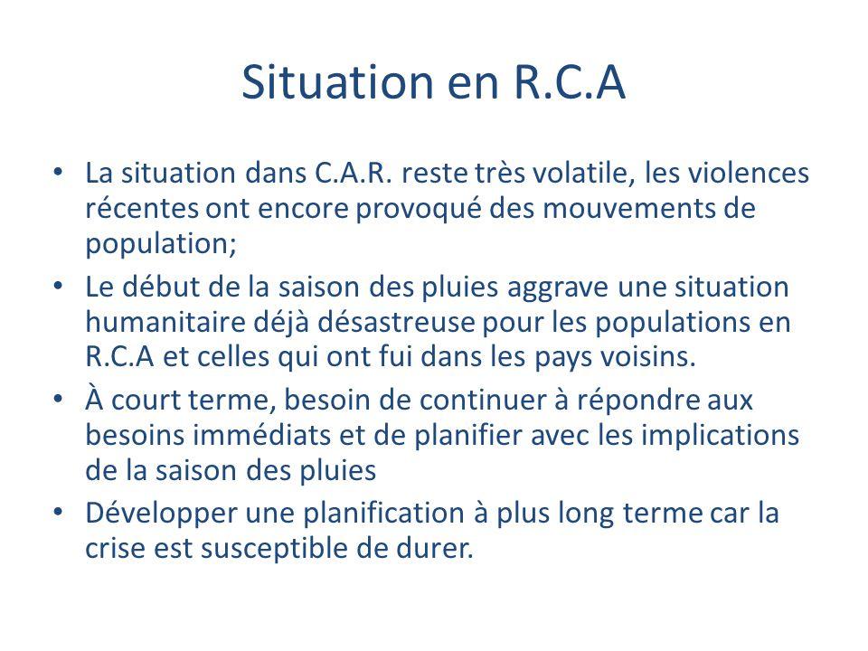 Situation en R.C.A La situation dans C.A.R. reste très volatile, les violences récentes ont encore provoqué des mouvements de population; Le début de