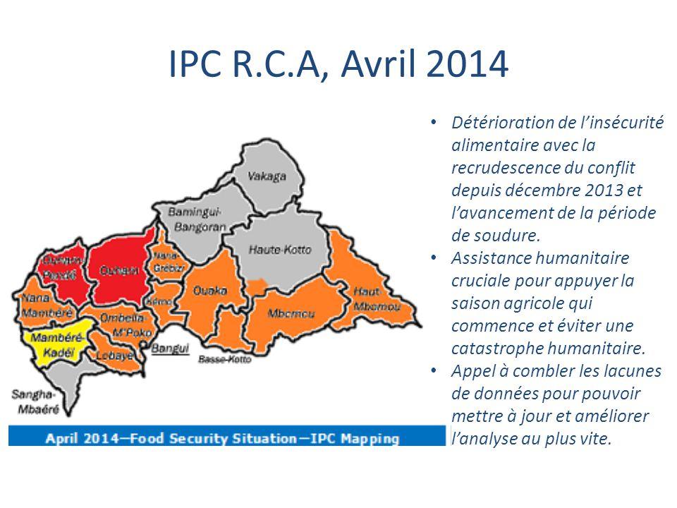 IPC R.C.A, Avril 2014 Détérioration de l'insécurité alimentaire avec la recrudescence du conflit depuis décembre 2013 et l'avancement de la période de
