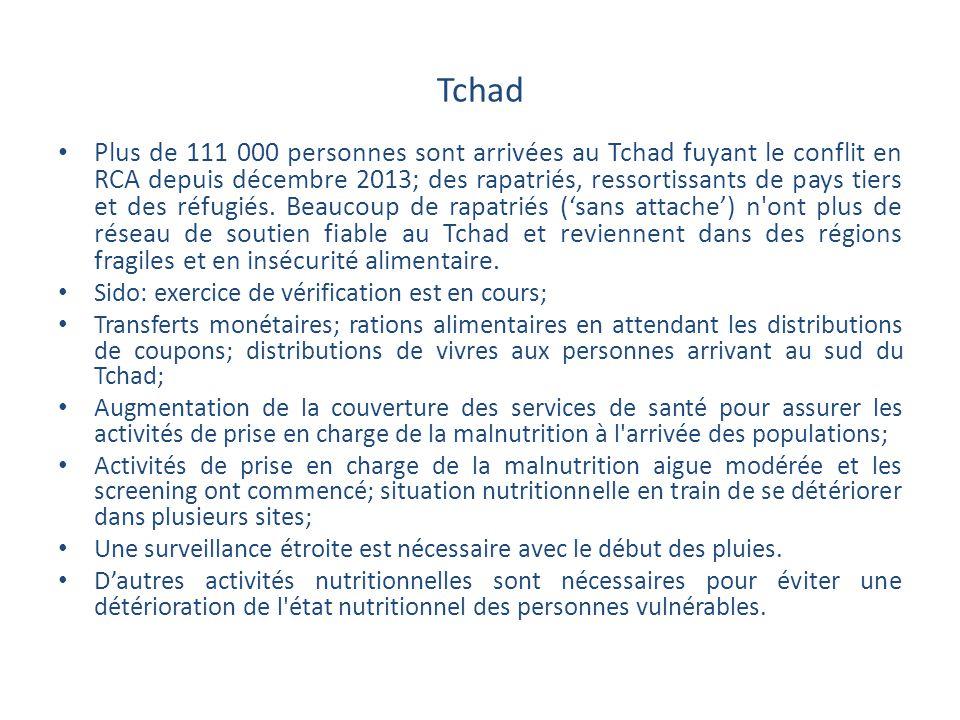 Tchad Plus de 111 000 personnes sont arrivées au Tchad fuyant le conflit en RCA depuis décembre 2013; des rapatriés, ressortissants de pays tiers et d