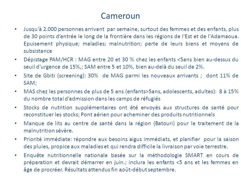 Cameroun Jusqu'à 2.000 personnes arrivant par semaine, surtout des femmes et des enfants, plus de 30 points d'entrée le long de la frontière dans les