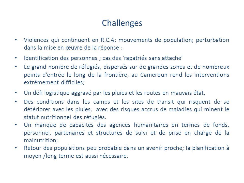 Challenges Violences qui continuent en R.C.A: mouvements de population; perturbation dans la mise en œuvre de la réponse ; Identification des personne